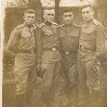 На территории училища. Э.Ашмарин, В. Бадьёв, механик, ?. 1958 г.