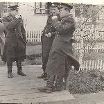 У здания штаба. Ржев. 1962 г. Крайний справа В. Бадьёв.