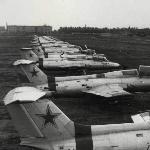 Стоянка самолетов на аэродроме Поворино, 1974 год
