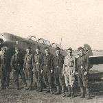 Второй освоенный нами самолет - Як-11. Наша группа, слева направо: техник самолёта, курсанты: Смирнов, Рябинин, я - Лавриненко, Мисевич, Кальчев, Бобров. 1953 г.