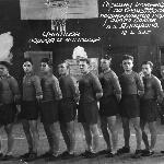 Команда курсантов – чемпионы по баскетболу 1953 года (6-ой слева Слюсарев Б.С.)
