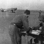 Як-11 перед взлётом, аэродром Танциреи 1953 г.