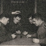 Слева направо: Грачев А., Хорев В., Смирнов О., Cаврасов В.  Январь 1958 г., Бутурлиновка.
