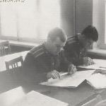 Борисоглебск 1973 год. Занятия в УЛО по самолётовождению. В.Белоусов, В.Пикатов.