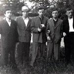 Аэродром Крустпилс (Латвия), 1958 год. Щипанов, Руфанов, Новиков (погиб), Егоров, Пищулин