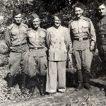Борисоглебск, 1955 год. Слева направо: Губанов, Андреев А.К., инструктор при  переучивании с Як-11 на МиГ-15, Пищулин Ю.А., Хачатрян П.А. (умер в начале 2000 г.)
