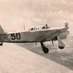 1956 г., осень. Аэродром Перемётный г. Уральск Зачётный полёт на самолёте Як-11 курсанта Гармаш
