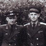 1955 год. Борисоглебск. Командир звена Кадацкий В.И. с техником звена Рябовым В.А.