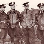 1952 год. Борисоглебское авиационное училище. Командир звена Кадацкий В.И. и его лётчики-инструкторы Терешенков, Черников и Астраханцев
