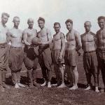 Полевой аэродром Калмык, 1948 год. Физподготовка курсантов Борисоглебского училища