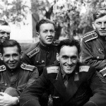 Лётная группа инструктора Караваева. Борисоглебск,  1957 г.