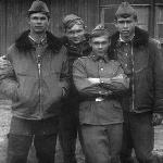 Староюрьево, 1975 год. Курсанты Ткаченко С., Паршуков Ф., Александров Б. и Евреинов В.