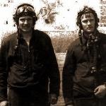 Ю. Пушик и А. Резников после первого самостоятельного вылета на самолёте Л-29